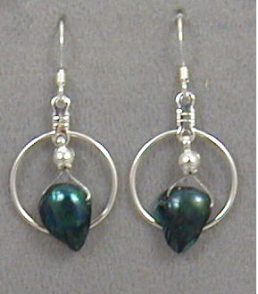 Dark Green Blister Pearl Earrings
