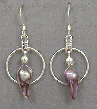Lavender Blister Pearl Earrings