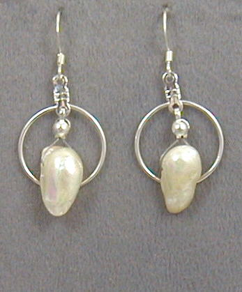 Iridescent White Blister Pearl Earrings